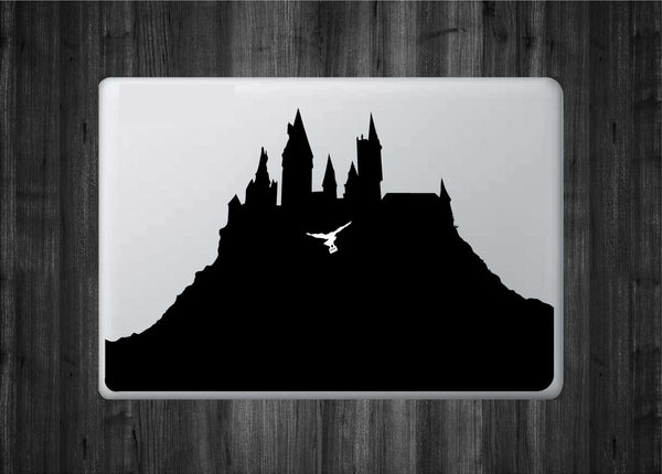 "Hogwarts Castle - School of Witchcraft and Wizardry Inspired Vinyl Decal with ""Glowing"" Hedwig for Macbook Laptops and More!"