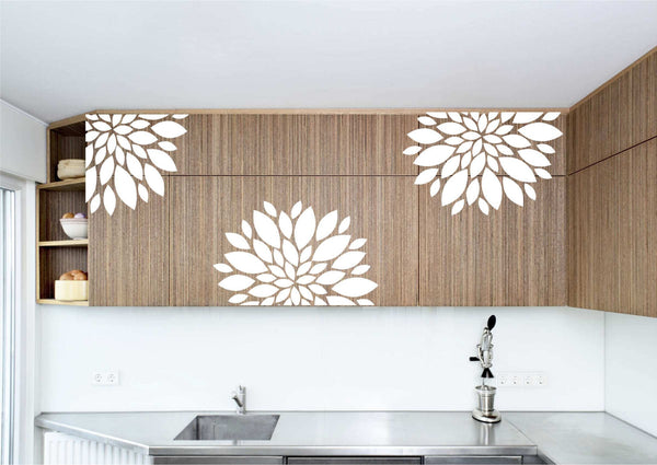 Poppy Flower Minimalist 3 Piece Cabinet and Wall Art Vinyl Decals - Tons of Colors Available!