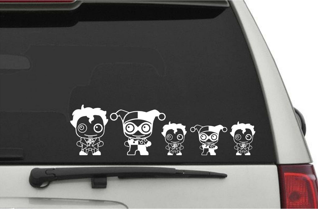 Joker And Harley Quinn Cute Chibi Stick Family Vinyl Decals For - Decals for your car