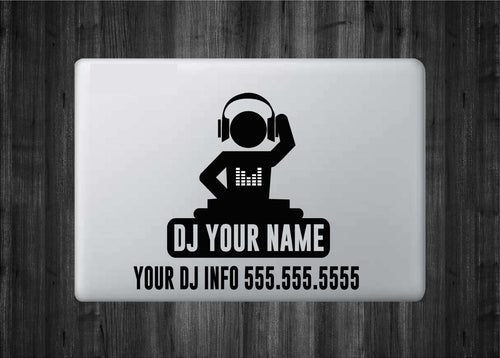 "Customizable Decal for DJs and Producers - Vinyl Decal with ""Glowing"" Sounds Bars for Macbook Laptops and More!"