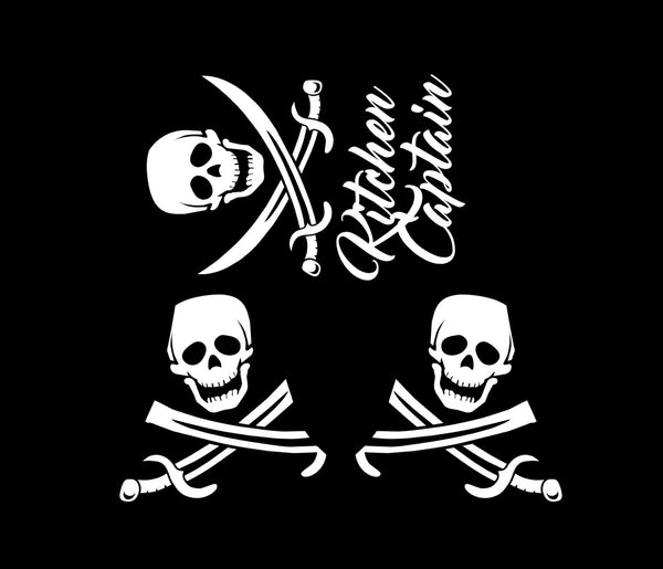 Kitchen Captain - Pirate Themed Vinyl Decals for Your Kitchenaid Mixer and More!