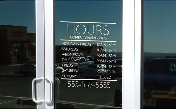 Minimalist Office/Salon/Shop Hours and Schedule for Window/Wall or Any Smooth/Flat Surface