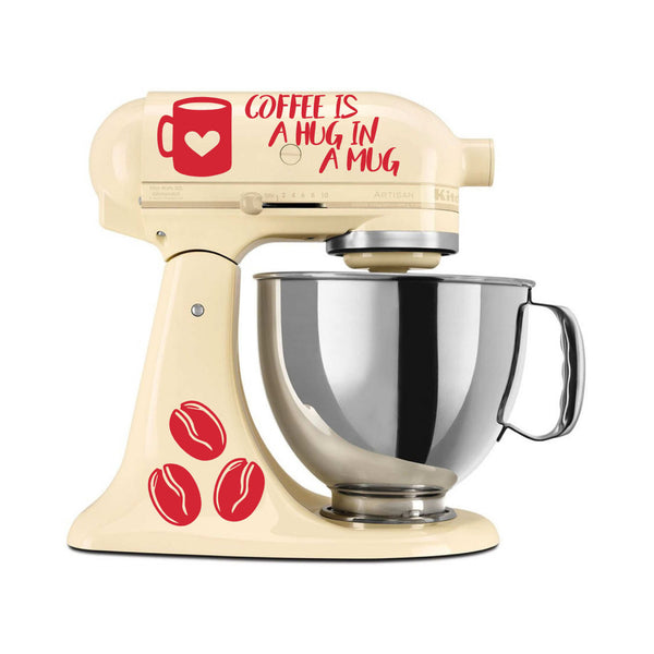 Coffee Is a Hug in a Mug Vinyl Decal Set for Kitchenaid Mixers and More!