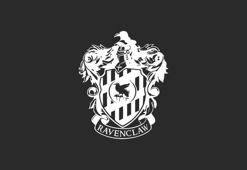 "Choose Your House! Ravenclaw Crest Inspired Vinyl Decal with ""Glowing"" Center Raven for Mac Laptops and More!"