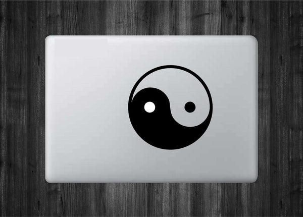 "Ying Yang Balance Vinyl Decal with ""Glowing"" White Circle for Macbook Laptops and More!"