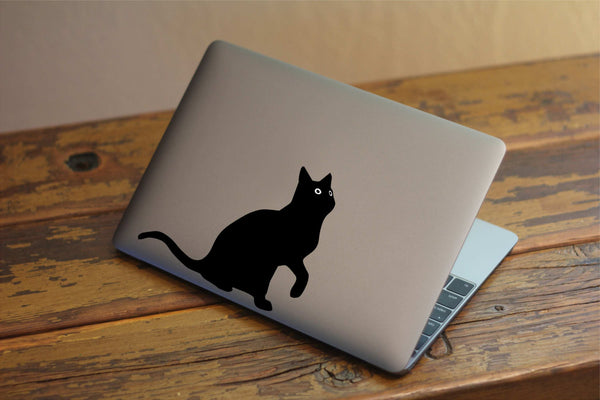"Curious Cat Vinyl Decal with ""Glowing"" Eyes for Macbook Laptops and More!"