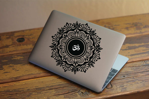 "Mandala and Ohm Vinyl Decal with ""Glowing"" Ohm Symbol for Macbook Laptops and More!"