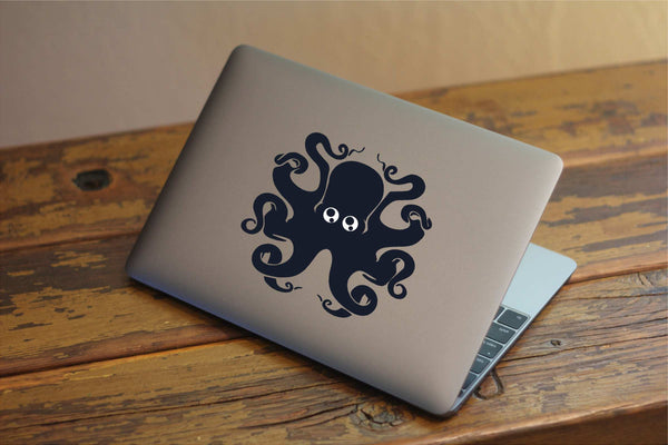 "Cute Big-Eyed Octopus Vinyl Decal with ""Glowing"" Eyes for Macbook Laptops and More!"