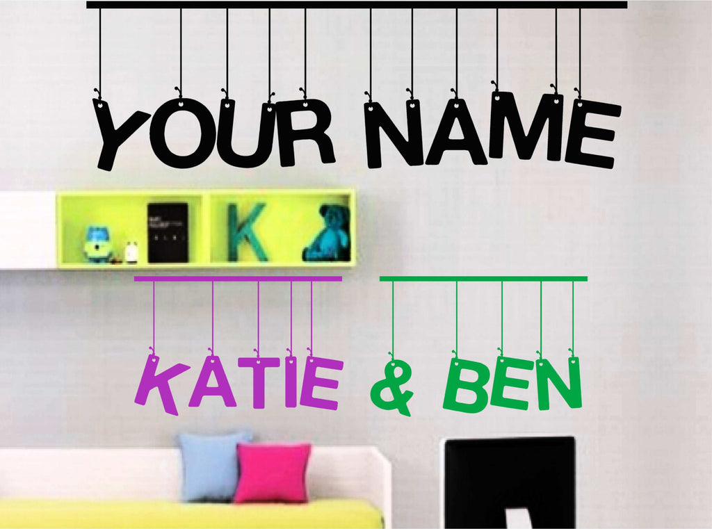 Hanging letters customize with your name vinyl decal for walls windows and more lots of color choices