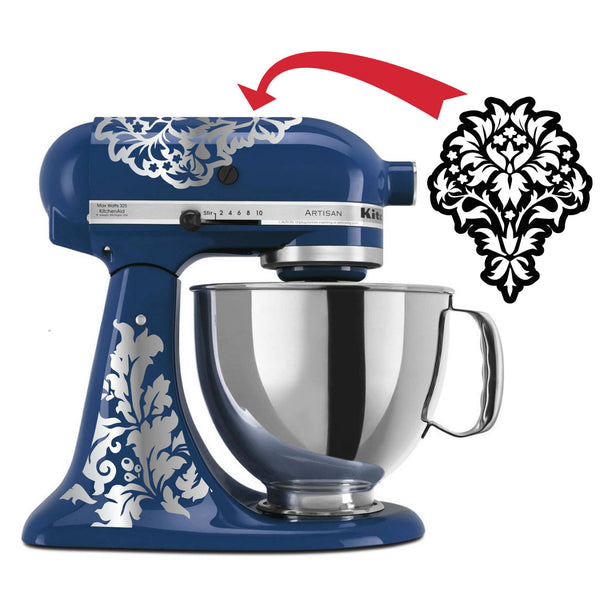 Flower Themed Damask Vinyl Decal for Kitchenaid Mixer 4 Quart and More! Lots of Colors Available!