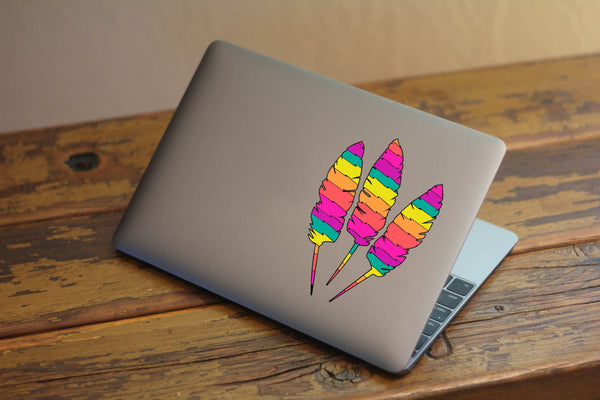 Colorsful Vintage Zig-Zag Feathers Printed Decal Set for Laptops, Windows, and More! Lots of Sizes Available!