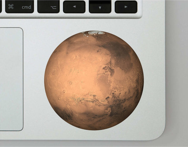 Planet Mars Printed Decal for Laptops, WIndows and More! Lots of Sizes Available!