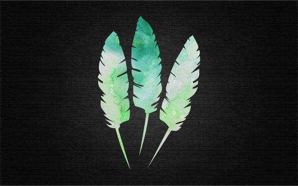 Water Color Style Vintage Feather Printed Decal Set for Laptops, Windows and More! Lots of Sizes Available!
