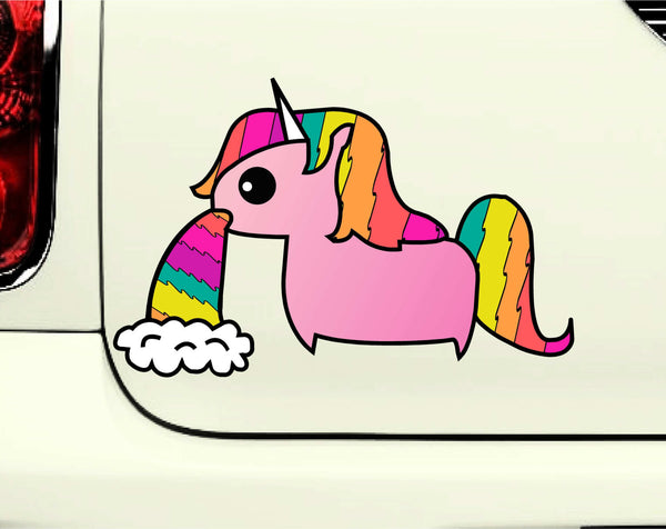 Cute Barfing Rainbow Unicorn Printed Decal for Laptops, Windows and More! Lots of Colors Available!