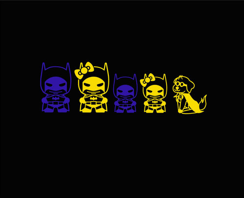 Batman/Woman Chibi Stick Family Vinyl Decals