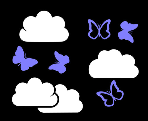 Clouds and Butterflies Wall Art Vinyl Decal for Walls, Windows and More!