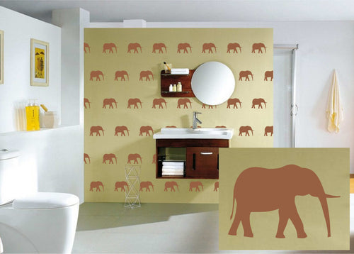 Classy Elephant Pattern Wall Art Vinyl Decals. Easier than Wallpaper, Tons of Colors Available!