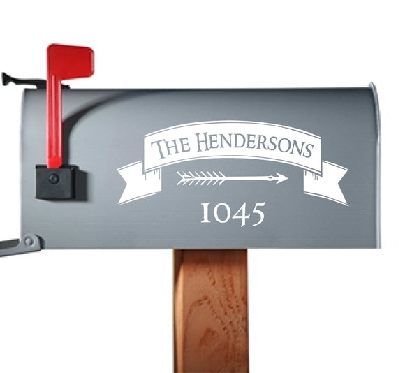 Customizeable Mailbox Artwork - Add Your Name & House Number to this Stylish Vinyl Decal. Tons of Colors Available!