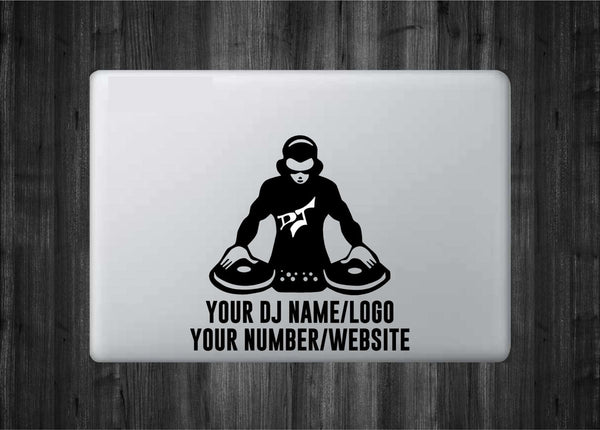 "Customizeable DJ/Producer Vinyl Decal with ""Glowing"" DJ Logo for Macbook Laptops and More! Promote Yourself - Add Your Name, Logo, Etc."