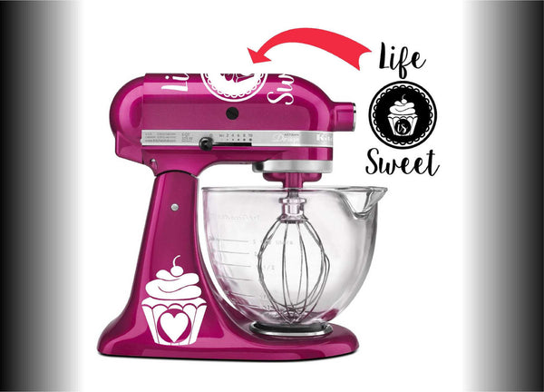 Life Is Sweet Vinyl Decal Set for Kitchenaid Mixers and More!