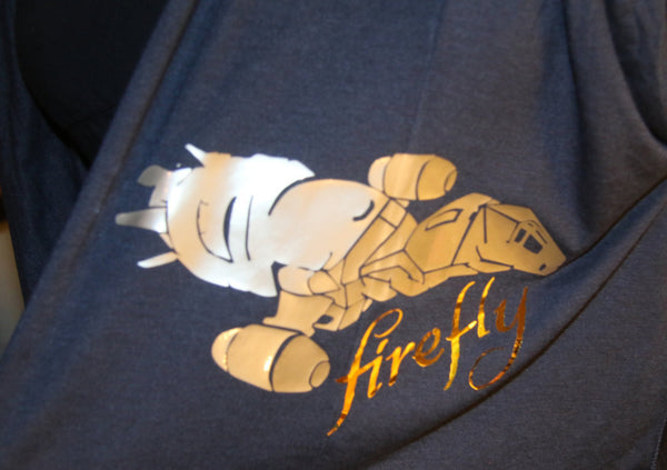 Firefly Serenity Inspired Women's Jersey Scarf in Blue with Metallic Gold and Silver Graphics