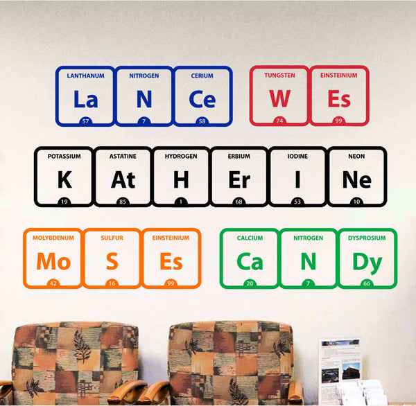 Your Name in Elements! Let us Create a Decal Featuring a Word or Your Name in Periodic Table Elements - Tons of Colors Available!