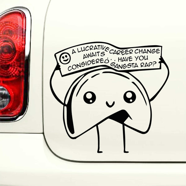Gangsta Rap - Funny Fortune Cookie Vinyl Decal for Laptops, Cars and More! Lots of Color Choices Available!