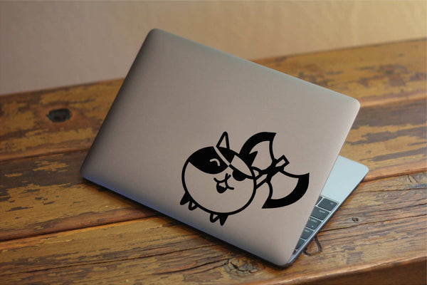 Cute Kitten with Axe Vinyl Decal for Windows, Laptops and More! Tons of Colors to Choose From!