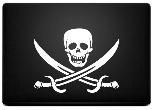 "Jolly Roger Pirate Themed Vinyl Decal with ""Glowing"" Eyes and Nose for Macbook Laptops and More!"