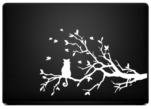 Cat on a Tree Vinyl Decal for Laptops, Windows and More! Lots of Colors to Choose From!