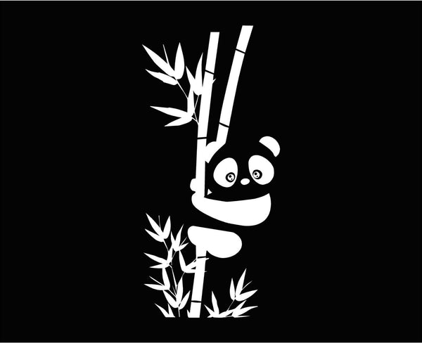 Cute Panda Cub & Bamboo Stalks - Vinyl Decal for Laptops, Windows and More! Lots of Colors Available!