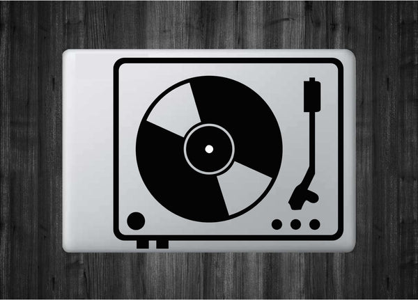 "DJ Vinyl Turntable Minimal Design Vinyl Decal with ""Glowing"" Center for Macbook Laptops and More!"