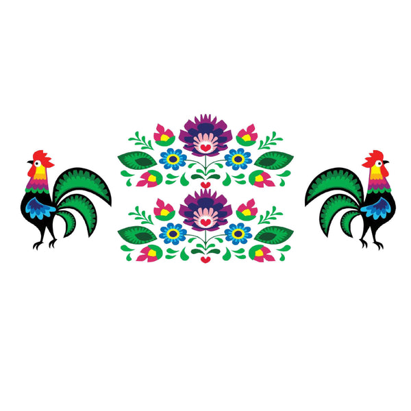 Polish Folk Art Flowers Decal Set
