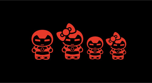 Cute Iron Man Chibi Stick Family Vinyl Decal Set