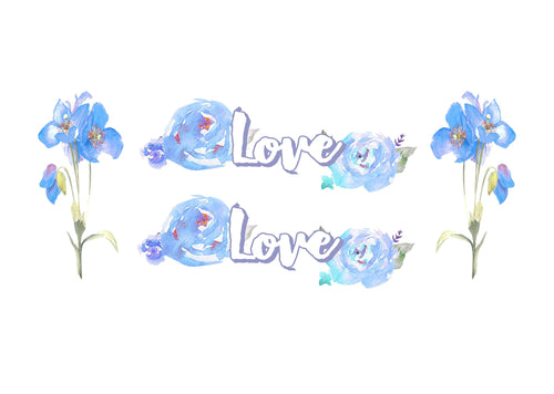 Love - Blue Watercolor Flowers Printed Vinyl Decal Set