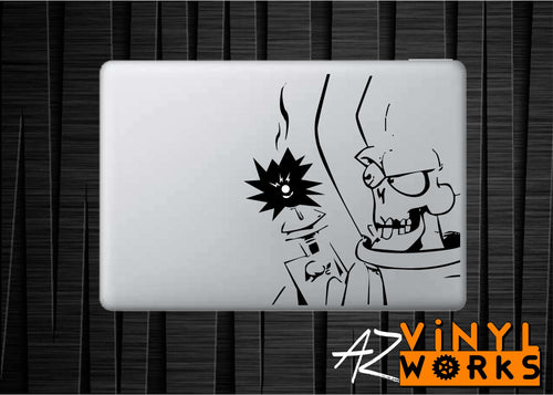 "Mars Attacks Alien Inspired Vinyl Decal with ""Glowing"" Laser Gun For Macbook Laptops and More!"