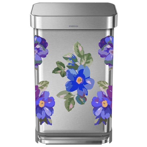 Blue Flower Woman Trash Can Decal Set