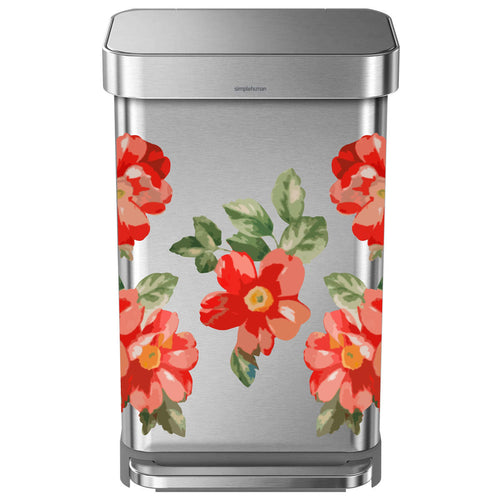 Red Flower Woman Trash Can Decal Set
