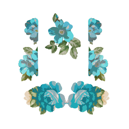 Teal Flower Woman Set