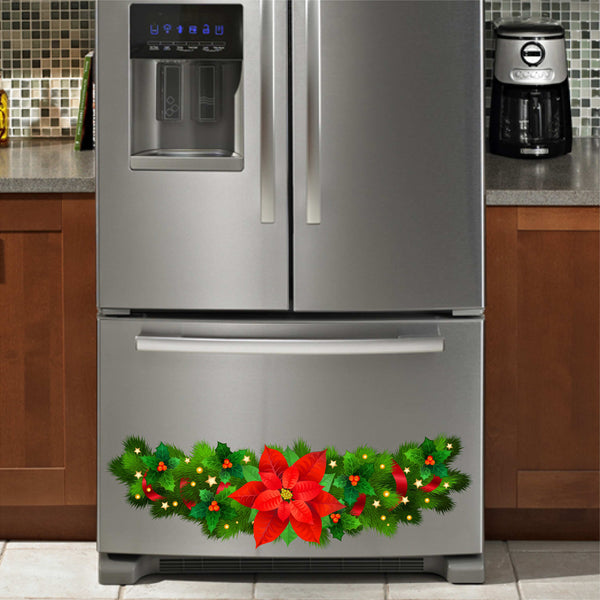 Poinsettia Christmas Vinyl Decal for Refrigerators, Dishwashers and More!