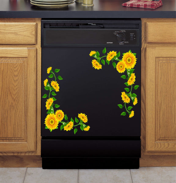 Sunflower Vines Vinyl Decal for Refrigerators, Dishwashers and More!
