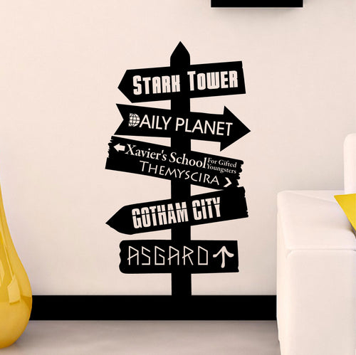 Comic Book Places Directional Decal