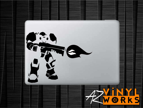 "Terran Marine - Star Craft Inspired Vinyl Decal with ""Glowing"" Flame for Macbook Laptops and More!"