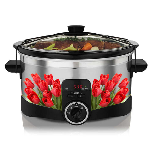 Red Tulips Corner Slow Cooker Decal