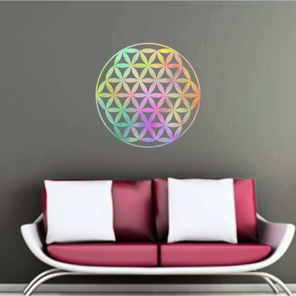 Rainbow Watercolor Flower of Life  Wall Decal