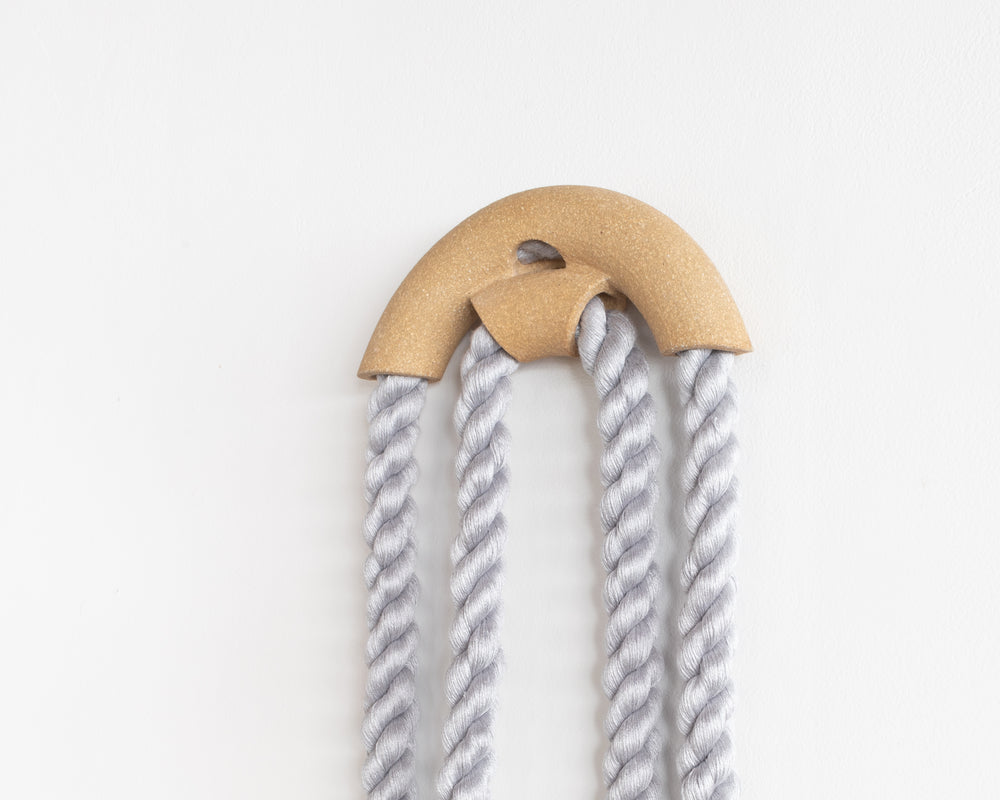 Small Stoneware Peekaboo Arch Loop (Blue Grey)