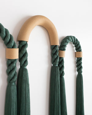 Large Stoneware Triple Arch (Forest Green)