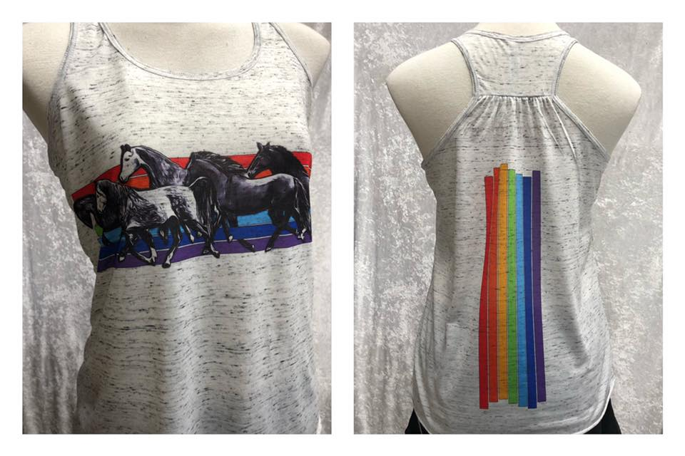 Ladies Singlet Rainbow Horses