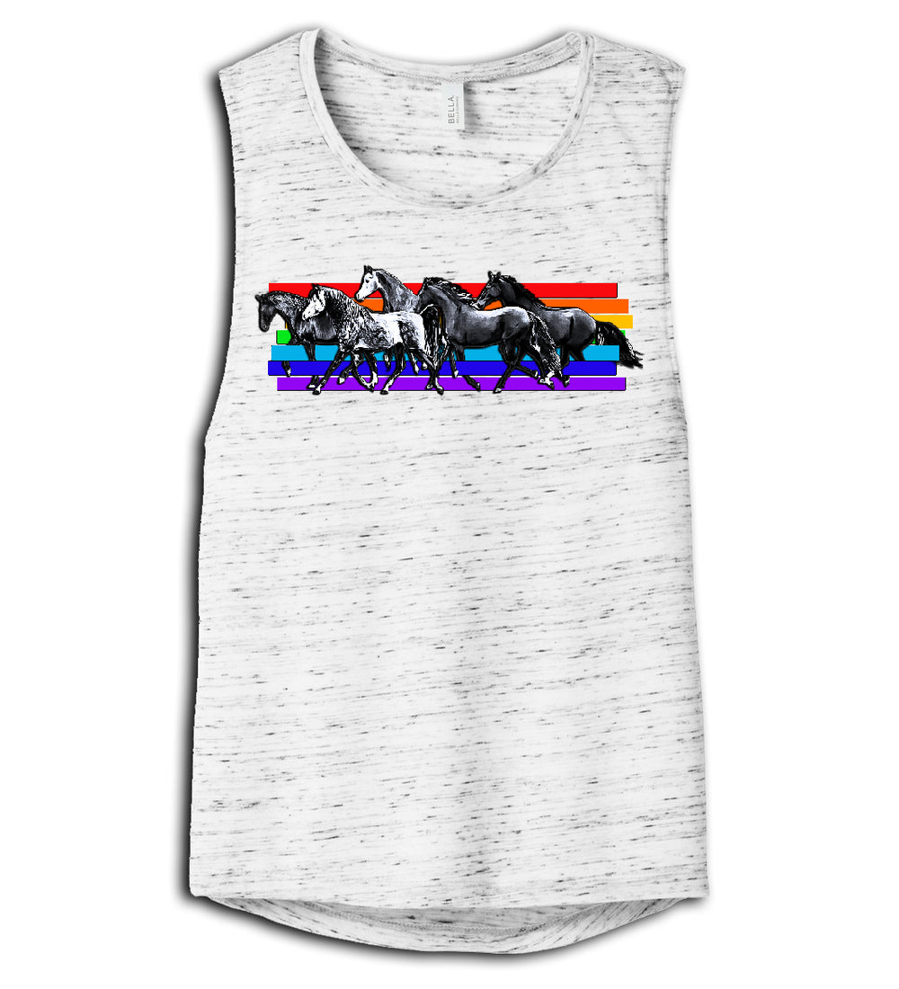 Ladies Muscle Tshirt Rainbow Horses