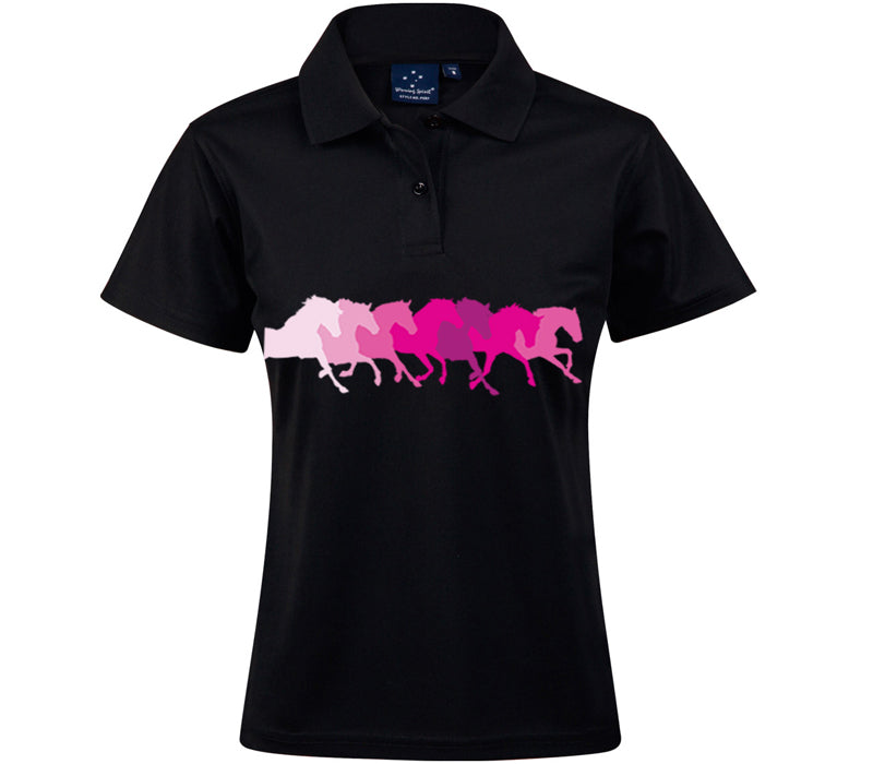 Black Polo Shirt with band of Horses (choose colour)